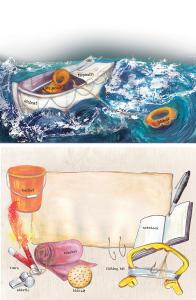2 double page spreads for 'Life of Pi' - Scholastic/Mary Glasgow